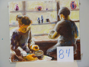 EMILY MUIR Pottery Studio and Two Figures oil on canvas, 20 x 23 inches