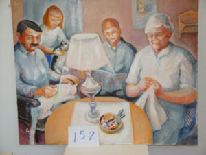 EMILY MUIR Ames Family Evening oil on canvas, 36 x 44 inches