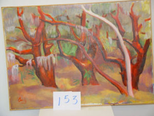 EMILY MUIR Red Trees oil on canvas, 40 x 28 inches