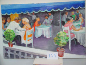 EMILY MUIR  Dinner Alfresco oil on canvas, 40 x 60 inches