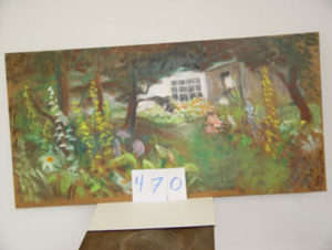 EMILY MUIR Gardens by White House oil on canvas, 23 x 48 inches