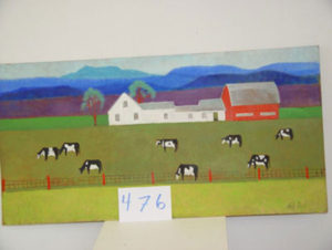 EMILY MUIR Farm and Cows oil on masonite, 24 x 48 inches