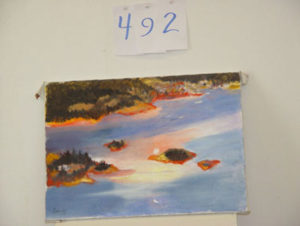 EMILY MUIR Setting Sun over Stonington oil on canvas, 14 x 20 inches