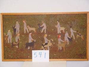 EMILY MUIR Circle of Children with Goats oil on canvas, 19 x 35 inches