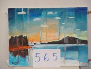 EMILY MUIR Schooner Sunrise oil on canvas, 16 x 22 inches