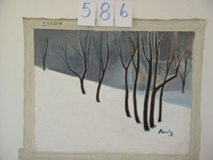 EMILY MUIR Winter Trees with House oil on canvas, 22 x 32 inches