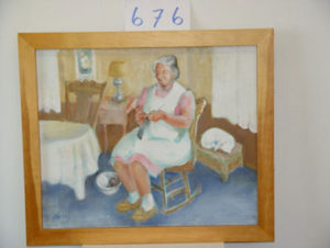 EMILY MUIR Woman Knitting oil on canvas, 23 x 38 inches