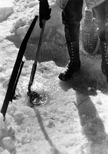 BERENICE ABBOTT Close Up of Ice Fishing, c. 1966, vintage silver gelatin photograph, 8 x 10 inches
