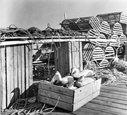 BERENICE ABBOTT Duck Decoys and Lobste Traps, c. 1966, vintage silver gelatin photograph, 8 x 8 inches