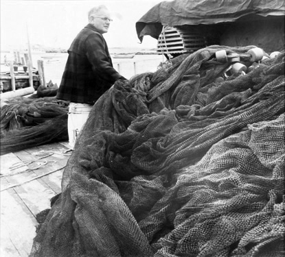 BERENICE ABBOTT Herring Nets, c. 1966, vintage silver gelatin photograph, 7 x 7 inches