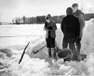 BERENICE ABBOTT Ice Fishing, c. 1966 vintage silver gelatin photograph, 8 x 10 inches