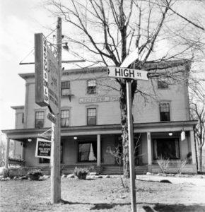 BERENICE ABBOTT Jones Inn and High Street, c. 1966 vintage silver gelatin photograph, 7 x 7 inches
