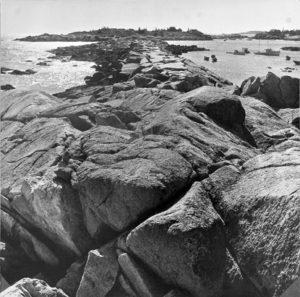 BERENICE ABBOTT Matinicus Island Breakwater, c. 1966 vintage silver gelatin photograph, 10 x 10 inches