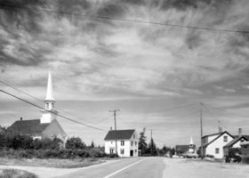 BERENICE ABBOTT Prospect Harbor, Union Church, c. 1966, vintage silver gelatin photograph, 6 x 10 inches