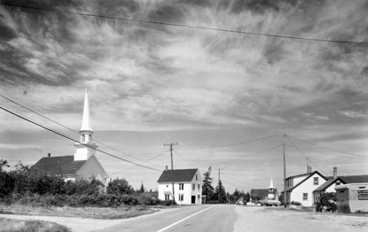 BERENICE ABBOTT Prospect Harbor, Union Church, c. 1966, vintage silver gelatin photograph, 6 x 10 inches