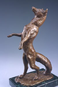 CYNTHIA STROUD Curious Fox cast bronze with a black marble base, 15 x 8 x 6 inches