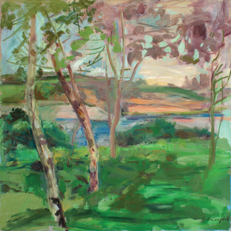 GRETNA CAMPBELL Birches in Back of the Studio, 1977, oil on canvas, 50 x 50 inches
