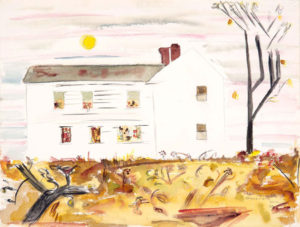 CHENOWETH HALL Autumn House watercolor, 14 x 20 inches