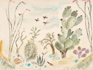 CHENOWETH HALL Lil's Cactus Garden watercolor, 14 x 19 inches