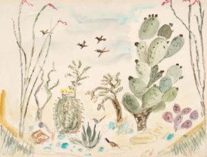 CHENOWETH HALL Lil's Cactus Garden, Tuscon, AZ watercolor, 14 x 19.5 inches $2000