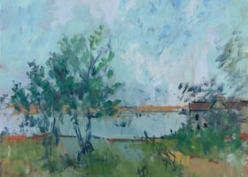 JOHN HELIKER House and Trees by the Bay, 1969, oil on canvas, 21 x 25 inches