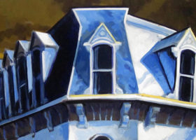 PHILIP KOCH Mansard Roof, oil on canvas, 22 x 44 inches