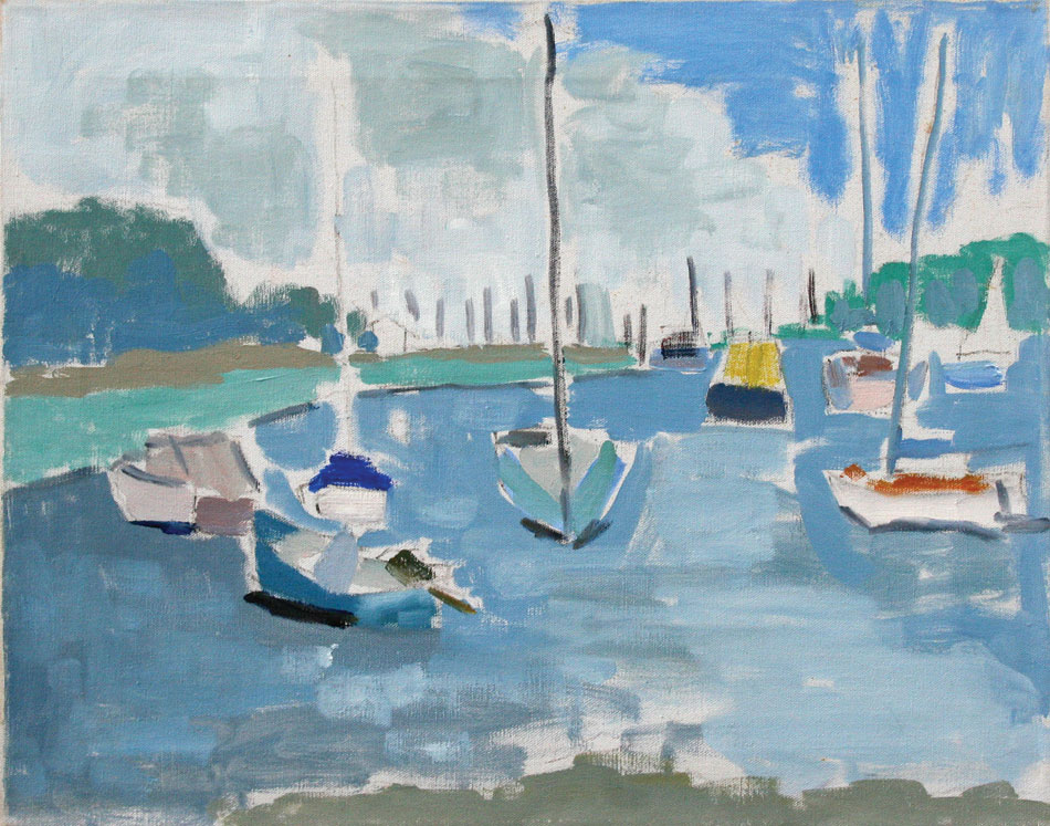 PATRICK MCARDLE Northport Harbor in Summer, oil on canvas, 16 x 20