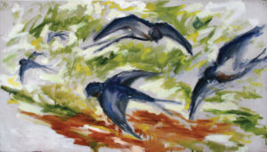 WILLIAM MOÏSE Barn Swallows oil on canvas, 24 x 42 inches $2000