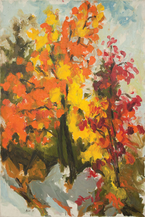 WILLIAM MOÏSE Flaming Fall, oil on canvas, 24 x 36 inches