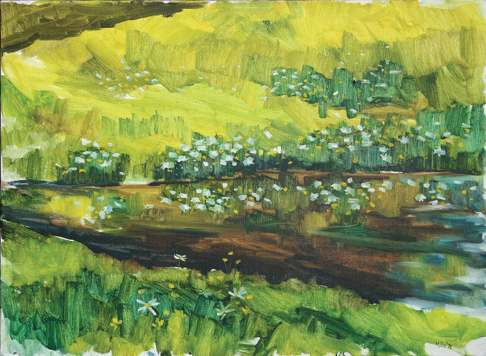 WILLIAM MOÏSE Meadow Pond, oil on canvas, 23 x 38 inches