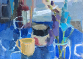 ROSIE MOORE Blue Inside and Out, oil on canvas, 18 x 18 inches