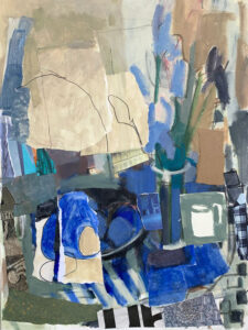 ROSIE MOORE Blue Iris mixed media on canvas, 40 x 30 inches $6000