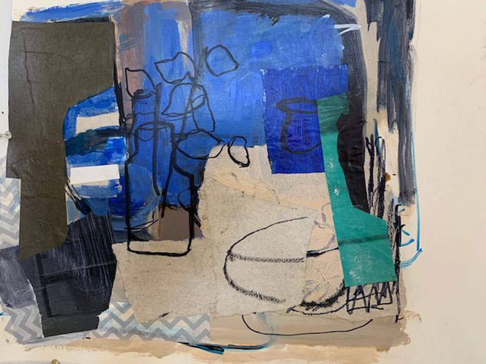 ROSIE MOORE Blue Window, mixed media, 15 x 12 inches