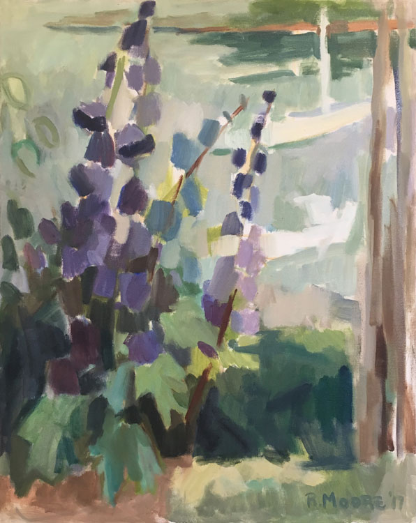 ROSIE MOORE Delphinium, oil on canvas, 30 x 24 inches