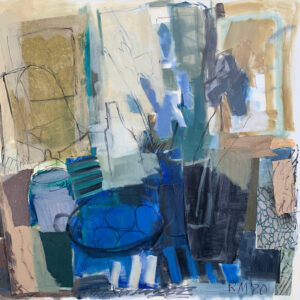 ROSIE MOORE Interior with Blue Iris mixed media on canvas, 30 x 30 inches SOLD