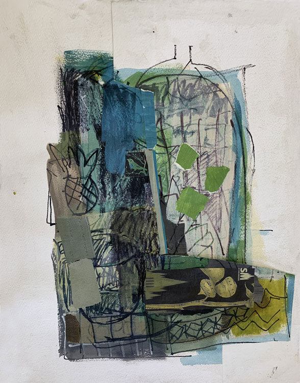 ROSIE MOORE Jungle, mixed media, 19 x 15 inches