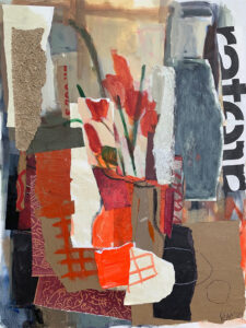 ROSIE MOORE Red Still Life mixed media on canvas, 40 x 30 inches $6000