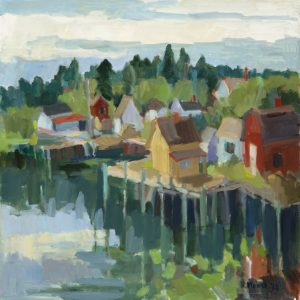 ROSIE MOORE Shore with Red Barn oil on panel, 30 x 30 inches $3800