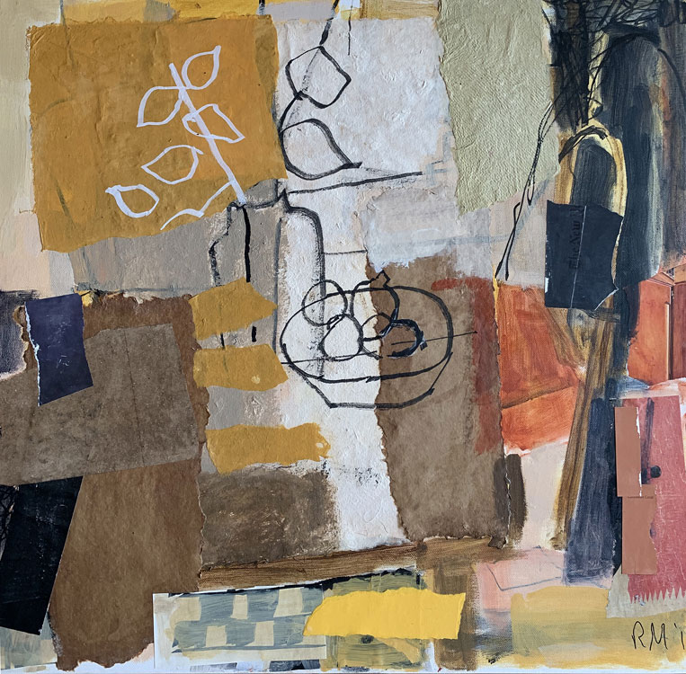 ROSIE MOORE Sunlit Kitchen, mixed media on canvas, 24 x 24 inches
