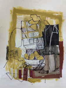 ROSIE MOORE Yellow Interior mixed media, 22 x 18 inches $2200