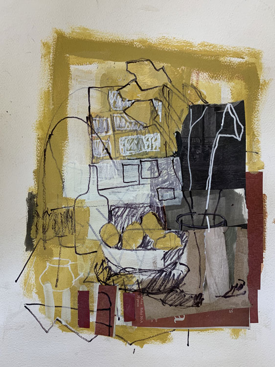 ROSIE MOORE Yellow Interior, mixed media, 22 x 18 inches