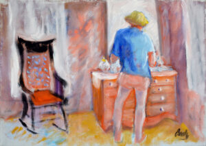 EMILY MUIR Lady at her Dresser oil on canvas, 14 x 20 inches
