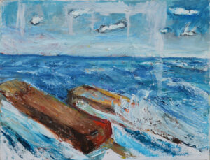 EMILY MUIR Crashing Waves oil on canvas, 16 x 20 inches