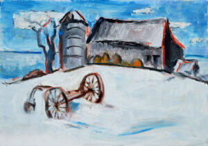 EMILY MUIR Winter Barn with Silo oil on canvas, 17 x 24 inches