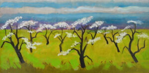 EMILY MUIR Orchard Abloom oil on masonite, 19 x 39 inches