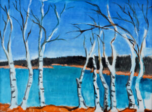 EMILY MUIR Bare Birches oil on canvas, 18 x 24 inches