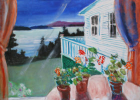 EMILY MUIR Geranium Porch, oil on canvas, 26 x 34 inches