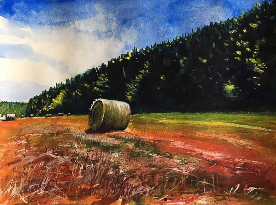 ED NADEAU Bale at Noon, watercolor, 12 x 16 inches
