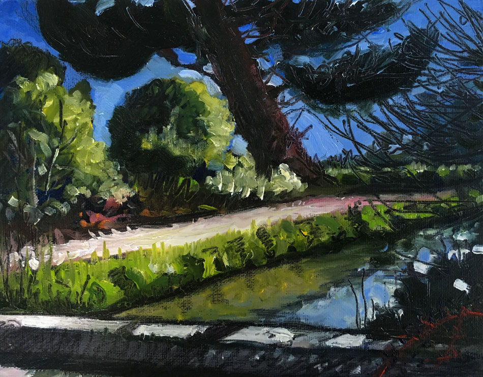 ED NADEAU Canal at Fourwinds, France, oil on canvas, 8 x 10 inches