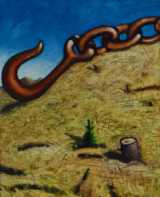 ED NADEAU Chain and Hook, oil on canvas, 16 x 32 inches